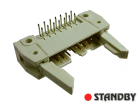 IDC 14 pin, male, THT, angled 90°, short latch